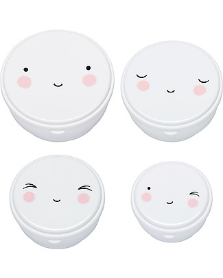 A Little Lovely Company 4 Snack Box, Happy Face - White - BPA and Phthalate Free null