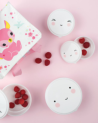 A Little Lovely Company 4 Snack Box, Happy Face - White - BPA and Phthalate Free Snack and Formula Containers