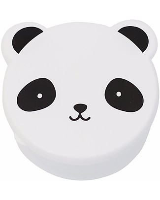 A Little Lovely Company 4 Snack Box, Panda - Black/White - BPA and Phthalate Free Snack and Formula Containers