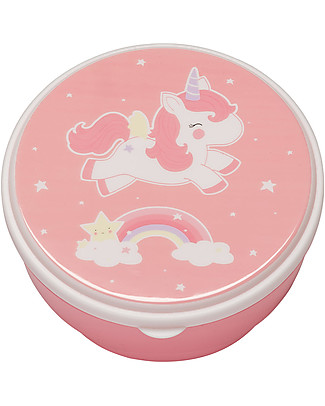 A Little Lovely Company 4 Snack Box, Unicorn - Pink - BPA and Phthalate Free null