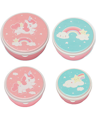 A Little Lovely Company 4 Snack Box, Unicorn - Pink - BPA and Phthalate Free Snack and Formula Containers