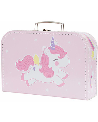 A Little Lovely Company Baby Unicorn Suitcase, Pink - 100% Recycled Cardboard Travel Bags