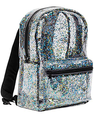A Little Lovely Company Backpack: Glitter - Transparent/Black Small Backpacks