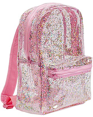 A Little Lovely Company Backpack: Glitter - Transparent/Pink     Small Backpacks