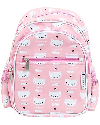A Little Lovely Company Big Backpack, Cats, 30 x 33 x 14.5 cm - Pink null