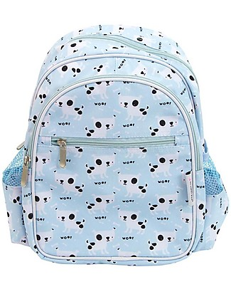 A Little Lovely Company Big Backpack, Dogs, 30 x 33 x 14.5 cm - Light Blue Large Backpacks