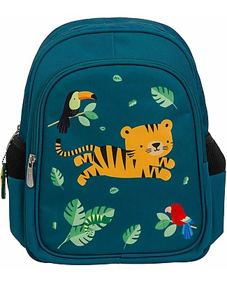 A Little Lovely Company Big Backpack, Jungle Tiger, 27 x 32 x 15 cm - Green Small Backpacks
