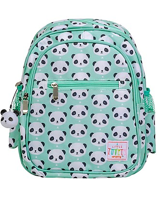 A Little Lovely Company Big Backpack, Panda, 25 x 32 x 16 cm - Aqua Small Backpacks