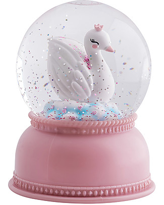 A Little Lovely Company Big LED Light, Snowglobe, Swan - Pink Bedside Lamps