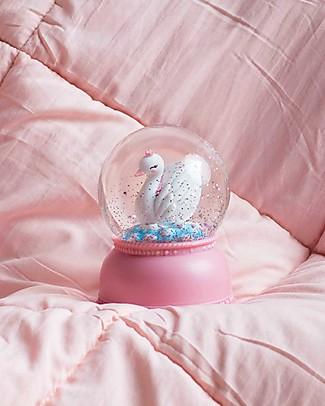 A Little Lovely Company Big LED Light, Snowglobe, Swan - Pink Bedside Lamps