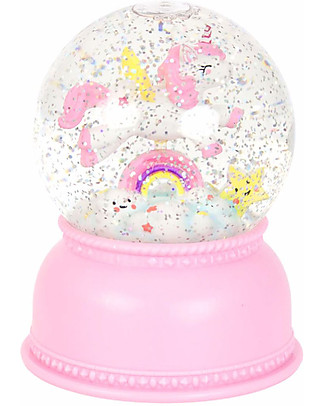 A Little Lovely Company Big LED Light, Snowglobe, Unicorn - Pink Bedside Lamps