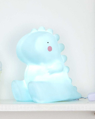 A Little Lovely Company Big LED Light, T-Rex - Light Blue Bedside Lamps