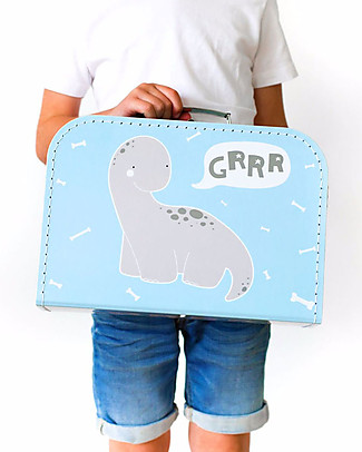 A Little Lovely Company Brontosaurus Suitcase, Light Blue - 100% Recycled Cardboard Travel Bags