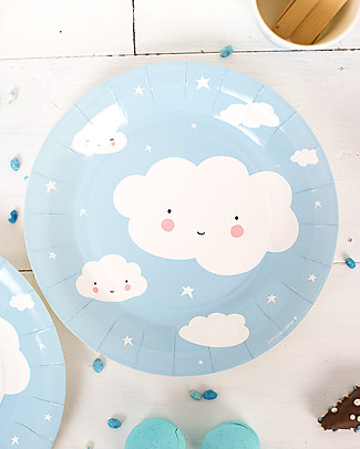 A Little Lovely Company Celebrations 12 Paper Plates - Cloud  Bowls & Plates