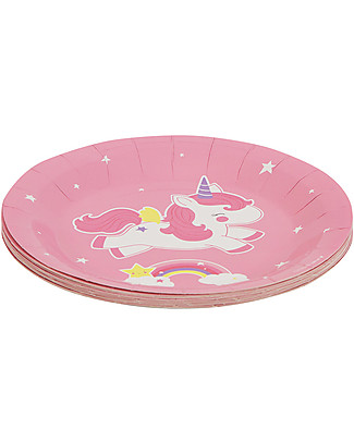 A Little Lovely Company Celebrations 12 Paper Plates - Unicorn Bowls & Plates