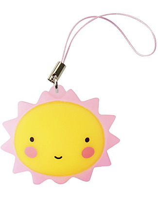 A Little Lovely Company Charm, Sun - Pink/Yellow Key Rings