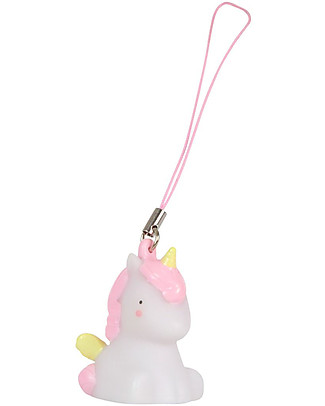 A Little Lovely Company Charm, Unicorn - Pink/White Key Rings