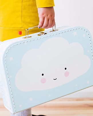 A Little Lovely Company Cloud Suitcase, Light Blue - 100% Recycled Cardboard Travel Bags