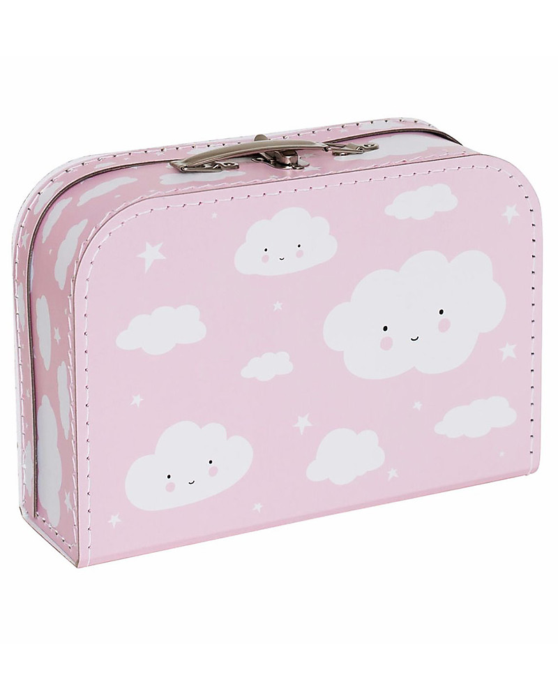 A Little Lovely Company Cloud Suitcase Pink 100 Recycled Cardboard Travel Bags