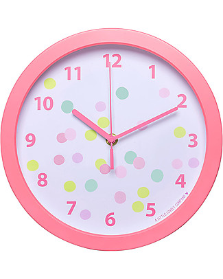 A Little Lovely Company Confetti Clock - White and Pink - WIth numbers! Room Decorations