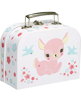 A Little Lovely Company Deer Little Suitcase, Pink/White - 100% Recycled Cardboard Travel Bags