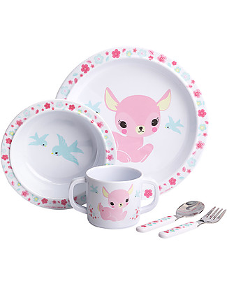 A Little Lovely Company Dinner Set Deer, White/Pink - 100% Melamine Meal Sets