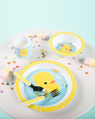 A Little Lovely Company Dinner Set Duck, Yellow/Light Blue - 100% Melamine Meal Sets