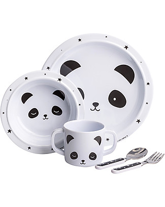 A Little Lovely Company Dinner Set Panda, Black/White - 100% Melamine Meal Sets