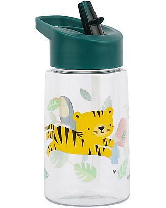 A Little Lovely Company Drink Bottle with Stickres, 400 ml - Jungle Tiger Thermos Bottles
