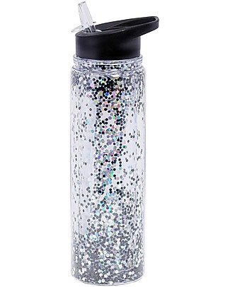 A Little Lovely Company Drink Bottle XL Glitter, 500 ml - Black/Silver Glitter Thermos Bottles