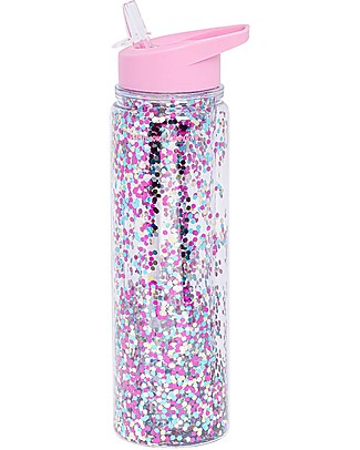 A Little Lovely Company Drink Bottle XL Glitter, 500 ml - Pink/Multicolour Glitter Thermos Bottles