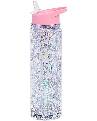 A Little Lovely Company Drink Bottle XL Glitter, 500 ml - Pink/Silver Glitter Thermos Bottles