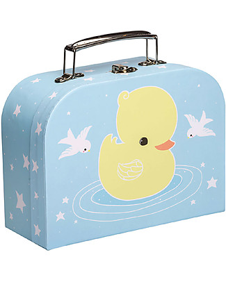 A Little Lovely Company Duck Little Suitcase, Light Blue/Yellow - 100% Recycled Cardboard Travel Bags