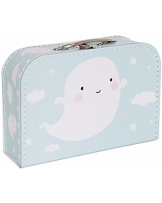 A Little Lovely Company Ghost Suitcase, Light Blue - 100% Recycled Cardboard Travel Bags