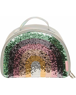 A Little Lovely Company Insulated Cool Bag, Rainbow Sequin - Grey Lunch Boxes