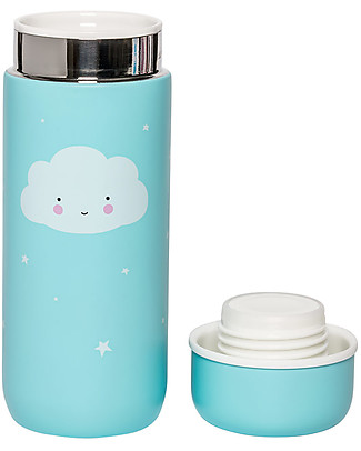 A Little Lovely Company Insulated Drink Bottle in Stailess Steel, 200 ml - Cloud Thermos Bottles