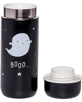 A Little Lovely Company Insulated Drink Bottle in Stailess Steel, 200 ml - Ghost Thermos Bottles