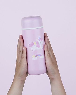 A Little Lovely Company Insulated Drink Bottle in Stailess Steel, 200 ml - Unicorn Thermos Bottles