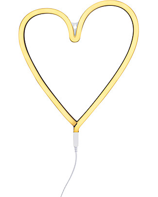 A Little Lovely Company LED Neon Light, Heart - Yellow Wall Lamps