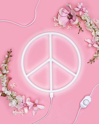 A Little Lovely Company LED Neon Light, Peace - White Wall Lamps