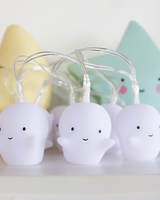 A Little Lovely Company LED String Lights, Ghost - White Greetings Cards