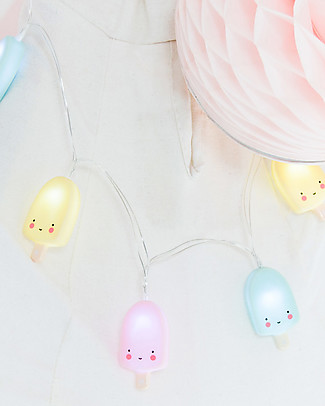 A Little Lovely Company LED String Lights, Popsicles - Pastel Wall Lamps