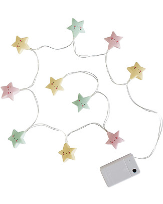 A Little Lovely Company LED String Lights, Stars - Pastel Wall Lamps