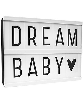 A Little Lovely Company Lightbox A5 with 124 Letter, Black Bedside Lamps