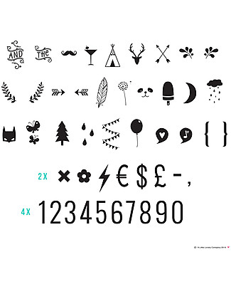 A Little Lovely Company Lightbox Numbers & Symbols Set, Black Bedside Lamps
