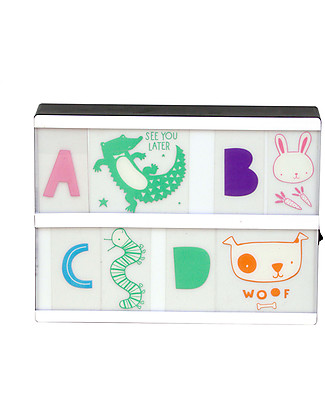 A Little Lovely Company Lightbox Symbol & Letters Set, ABC Pastel Bedside Lamps