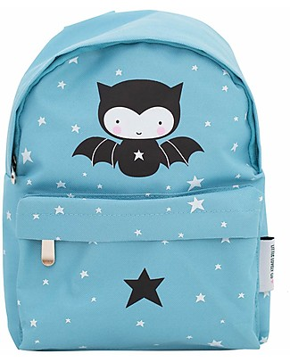 A Little Lovely Company Little Backpack, Bat, 20.5 x 28 x 12.5 cm - Light Blue Large Backpacks