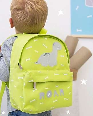 A Little Lovely Company Little Backpack, Brontosaurus, 20.5 x 28 x 12.5 cm - Green Large Backpacks
