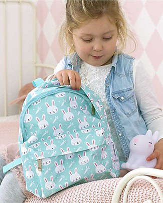 A Little Lovely Company Little Backpack, Rabbits, 30 x 27 x 13 cm - Mint Large Backpacks