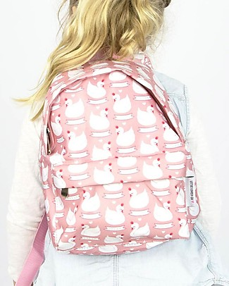 A Little Lovely Company Little Backpack, Swan, 30 x 20 x 10 cm - Pink Large Backpacks